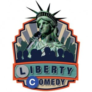 Liberty Comedy Corp's logo- Statue of Liberty holding a microphone in front of an audience)